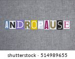 andropause word on grey... | Shutterstock . vector #514989655
