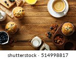 freshly baked blueberry muffins ... | Shutterstock . vector #514998817