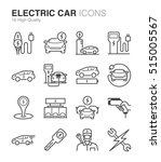 electric car line icon set.... | Shutterstock .eps vector #515005567