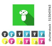 flat design mushroom icon set