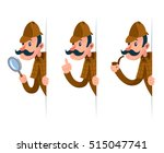 detective with magnifying glass ... | Shutterstock .eps vector #515047741
