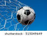 soccer ball in goal net with... | Shutterstock . vector #515049649