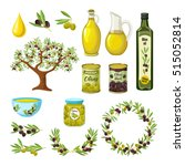 olive colored isolated icon set ... | Shutterstock .eps vector #515052814