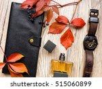 closeup of men's accessories... | Shutterstock . vector #515060899