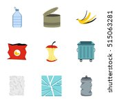 trash icons set. flat... | Shutterstock .eps vector #515063281