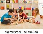 children playing with blocks on ... | Shutterstock . vector #51506350