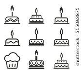 cake vector icons set. black... | Shutterstock .eps vector #515063875