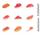beef icons set. isometric... | Shutterstock .eps vector #515069647