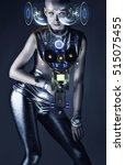 cyborg woman with hologram... | Shutterstock . vector #515075455