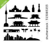 Seoul, South Korea landmark silhouettes vector | Shutterstock vector #515085355