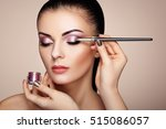 makeup artist applies eye... | Shutterstock . vector #515086057