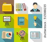 earnings icons set. flat... | Shutterstock .eps vector #515088235