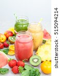 smoothie jars surrounded by... | Shutterstock . vector #515094214
