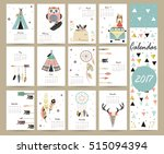colorful cute monthly calendar... | Shutterstock .eps vector #515094394