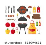 barbecue and grill set for home ... | Shutterstock .eps vector #515094631