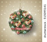 christmas ball of fir branches... | Shutterstock .eps vector #515095141
