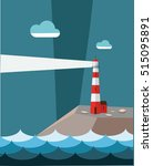 lighthouse on the cliff in... | Shutterstock .eps vector #515095891