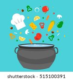 kitchen pot with flying food ... | Shutterstock .eps vector #515100391