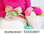 the woman knits a hook from a... | Shutterstock . vector #515103847
