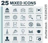 set of 25 universal editable... | Shutterstock .eps vector #515104255