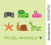 pixel art style animals cartoon ... | Shutterstock .eps vector #515110711
