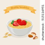 porridge bowl with oatmeal... | Shutterstock .eps vector #515116951