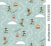 christmas illustration  ski... | Shutterstock .eps vector #515118535