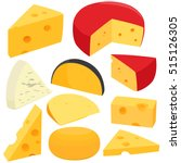 Various Types Of Cheese. Vecto...
