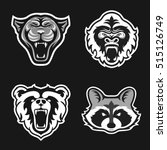 Set of logos for sport team. Panthers, Gorillas, Bears, Raccoons. Animal mascot logotype. Template. Vector illustration.