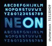 blue neon tube alphabet font.... | Shutterstock .eps vector #515130409
