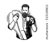 hipster. a bearded man with a...   Shutterstock .eps vector #515130811
