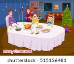happy family enjoying meal at... | Shutterstock .eps vector #515136481