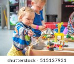 children playing with wooden... | Shutterstock . vector #515137921