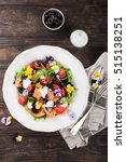 fresh salad with smoked salmon  ... | Shutterstock . vector #515138251