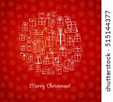 greeting card with christmas... | Shutterstock .eps vector #515144377