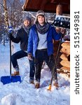 Two Friends Shoveling Snow Fro...