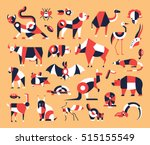 Animals   Set Of Modern Vector...