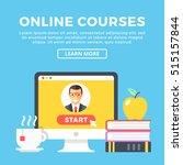 online courses concept. desktop ... | Shutterstock .eps vector #515157844