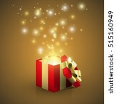 open red gift box with magic... | Shutterstock .eps vector #515160949