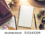 notebook and travel objects on... | Shutterstock . vector #515165209