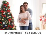 young couple near christmas... | Shutterstock . vector #515168701