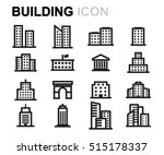 vector line buildings icons set ... | Shutterstock .eps vector #515178337