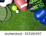 various sport tools on grass   Shutterstock . vector #515181937
