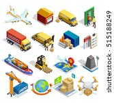 logistics isometric icons set... | Shutterstock .eps vector #515188249