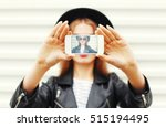 fashion cool girl taking... | Shutterstock . vector #515194495