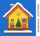 christmas house in cut with... | Shutterstock .eps vector #515194561