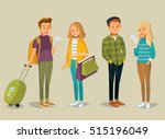 students with gadgets  shopping ... | Shutterstock .eps vector #515196049