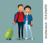 couple with suitcase traveling | Shutterstock .eps vector #515196055
