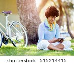 young woman using tablet in the ... | Shutterstock . vector #515214415