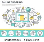 online shopping concept... | Shutterstock .eps vector #515216545